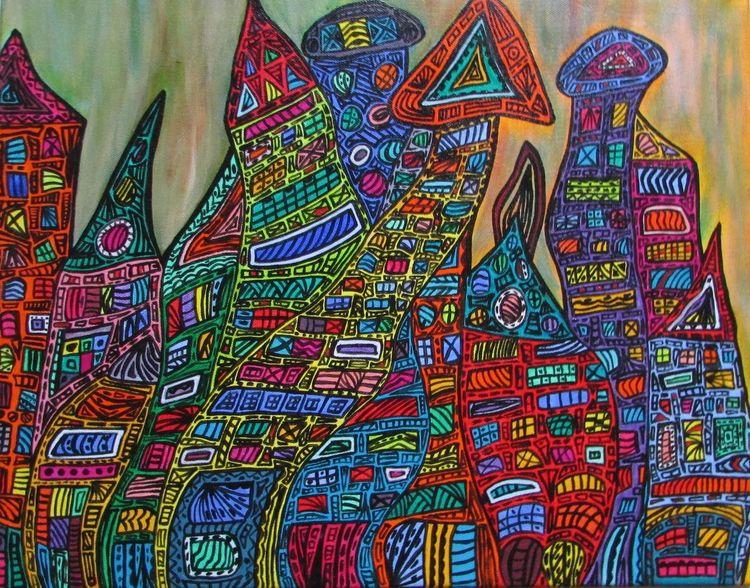Bunt, Zeitgenössisch, Malerei, Moderne kunst, Stadt, Acrylmalerei