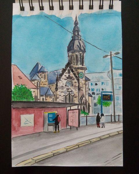 Skizze, Leipzig, Gouachemalerei, Illustration, Aquarellmalerei, Goerdelerring