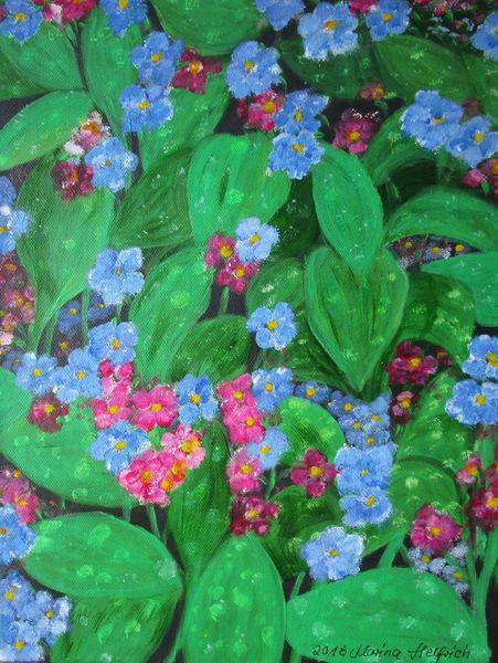 Pflanzen, Rosa, Blau, Lungenkraut, Malerei