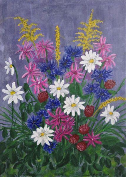 Bunt, Margerite, Kornblumen, Wiesenblumen, Blumen, Malerei