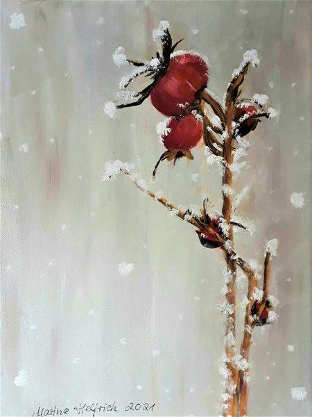 Hagebutte, Schnee, Winter, Pflanzen, Malerei