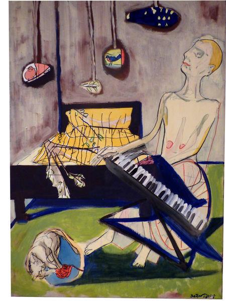 Bett, Klavier, Alte frau, Katze, Malerei