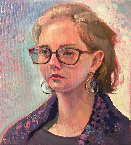 Malerei, Portrait, Mädchen, Frau, Ölmalerei, Gesicht