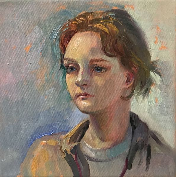 Malerei, Ölmalerei, Mädchen, Portrait, Gesicht