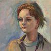 Mädchen, Portrait, Gesicht, Ölmalerei