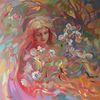 Frühling, Mädchen, Blumen, Ölmalerei
