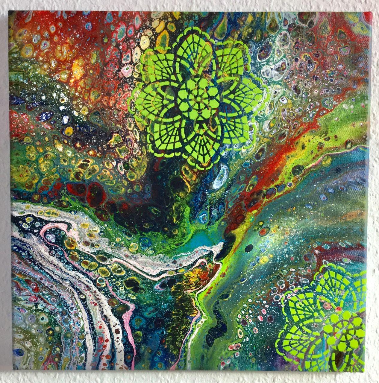 """Acrylbild Abstrakt """"Tropical Colors"""" 40 x 40 cm - Flipcup ..."""