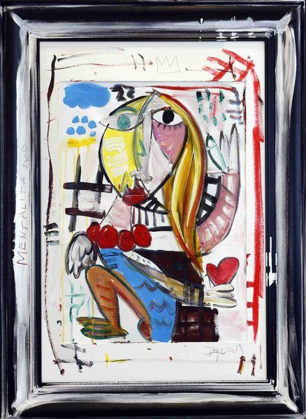 Frauenportrait, Bunt, Rahmen, Abstrakt, Malerei,