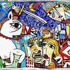 Gemälde, Moderne kunst, Schwert, Kampfszene