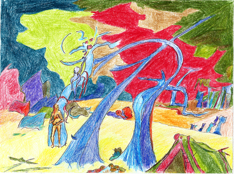 Buntstifte, Illustration, Psychedlisch, Traum, Landschaft, Bunt