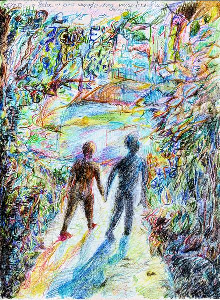 Landschaft, Abstrakt, Mann, Farben, Licht, Buntstifte