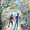Landschaft, Abstrakt, Farben, Mann