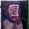 Schimpanse, Affe, Erheitern, Acrylmalerei