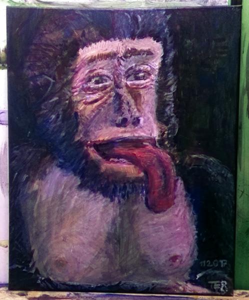 Zunge, Schimpanse, Erheitern, Affe, Gebrauchskunst, Acrylmalerei