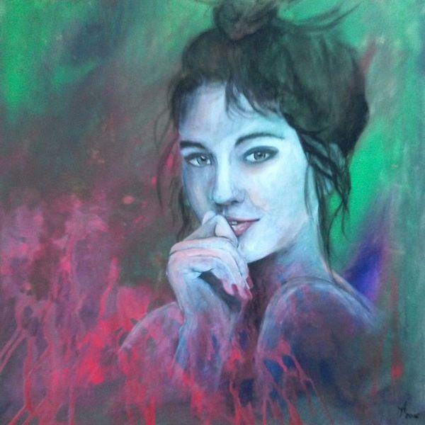 Portrait, Frau, Acrylmalerei, Abstrakt, Malerei, Junge