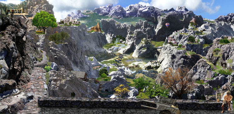 Landschaft, Natur, Digital, Blender, Digitale malerei, Phantasialand