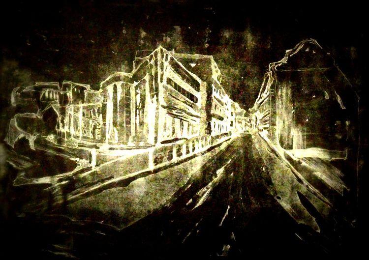 Kleinstadt, Nacht, Hochdruck, Radierung metallschnitt, Druckgrafik