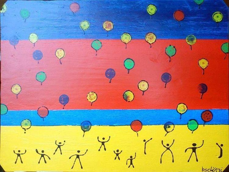 Malerei, Bschoeni, Kinder, Luft allon, Meer, Luft