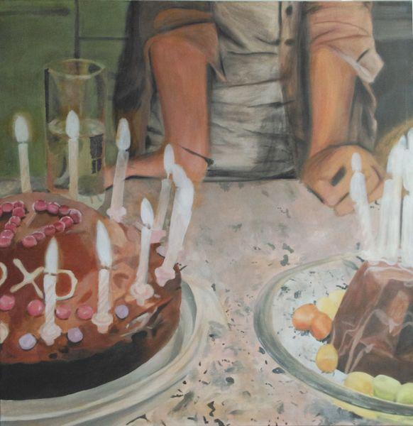 Kuchen, Geburtstag, Kerzen, Licht, Frau, Malerei