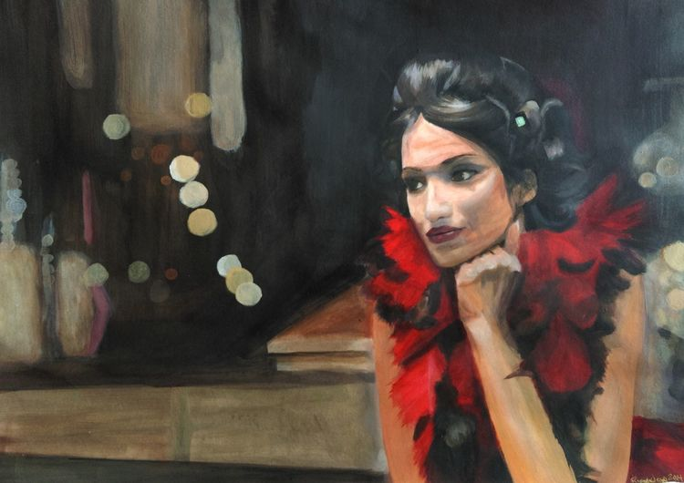 Licht, Portrait, Frau, Rot schwarz, Figural, Malerei