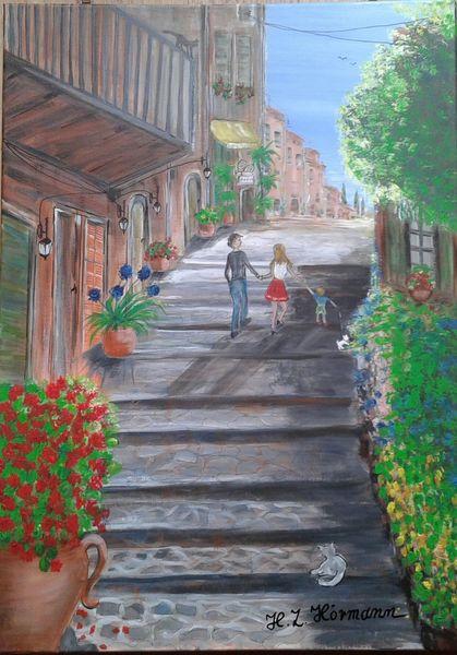 Treppe, Sonnenlicht, Familie, Geranie, Blumen, Malerei