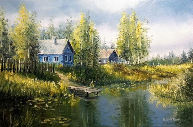 Fluss, Malerei, Dorf, See, Russland, Sommer