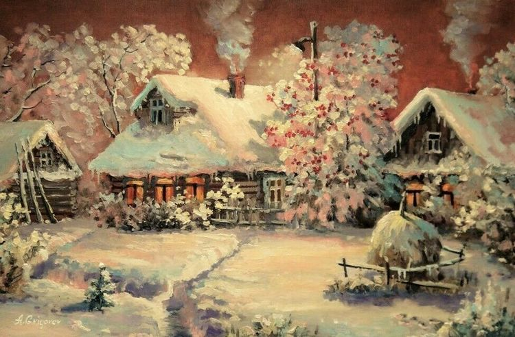 Winter, Ölmalerei, Malerei, Russland, Landschaft, Dorf