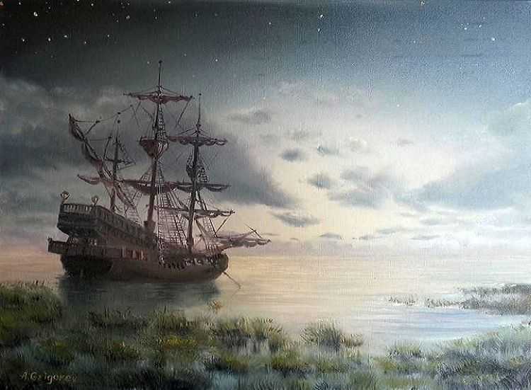 Schiff, Stern, Insel, Piratenschiff, Strand, Sommer