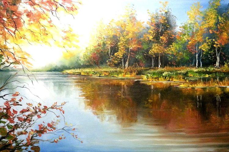 Malerklasse, Natur, Fluss, Malschule, Malerei, Wald