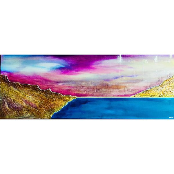Wasser, Pink, Mischtechnik, Blau, Spachtel, Landschaft