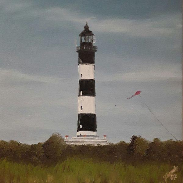 Drache, Leuchtturm, Streifen, Wind, Malerei
