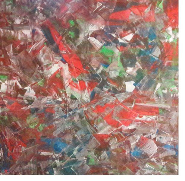 Rot, Acrylmalerei, Spachteltechnik, Cyan, Weiß, Malerei