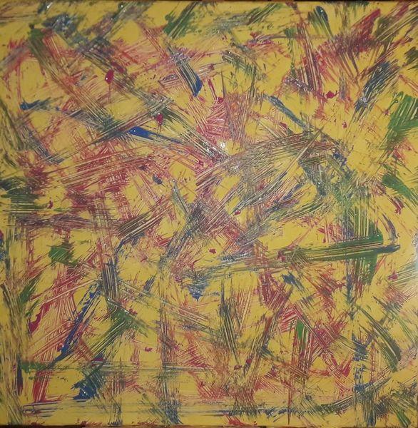 Acrylmalerei, Magenta, Gelb, Malerei