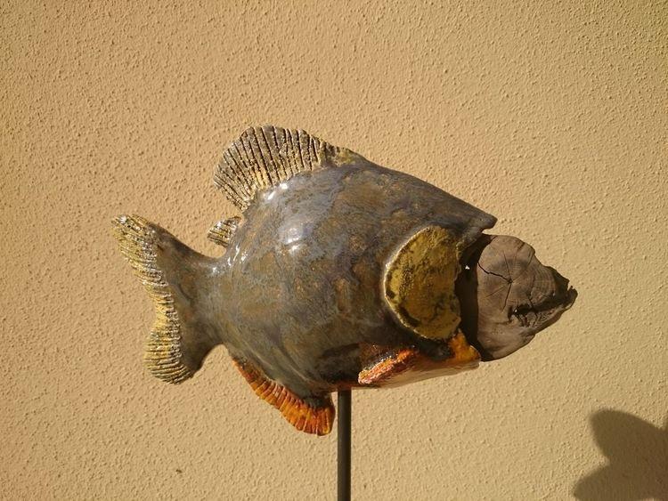 Treibholz, Glasur, Skulptur, Fisch, Wasser, Ton