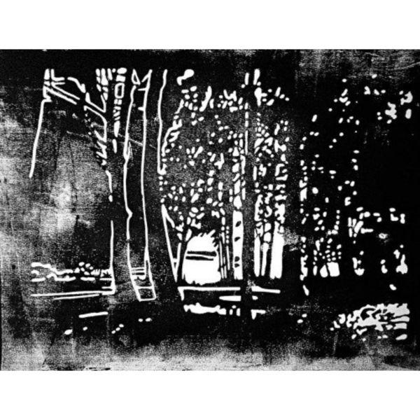 Lichtblicke, Melancholie, Linolschnitt, Schatten, Druckgrafik