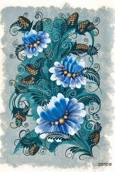 Blau, Volkskunst, Grau, Bauernkunst, Blumen, Bauernmalerei