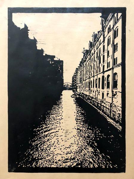 Hamburg, Linolschnitt, Nebenbeigekritzel, Druckgrafik, Speicherstadt
