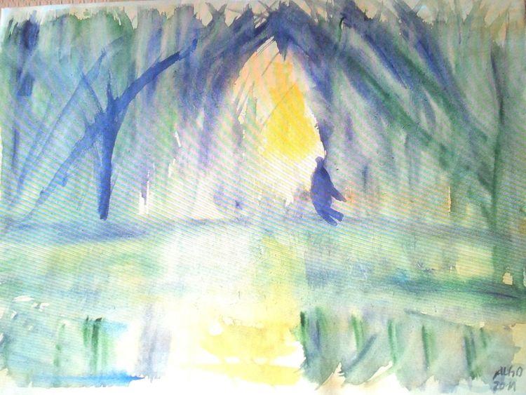 Schattenspiel, Blauen schatten, Gelbe reflektion, Aquarell, Mystik, See