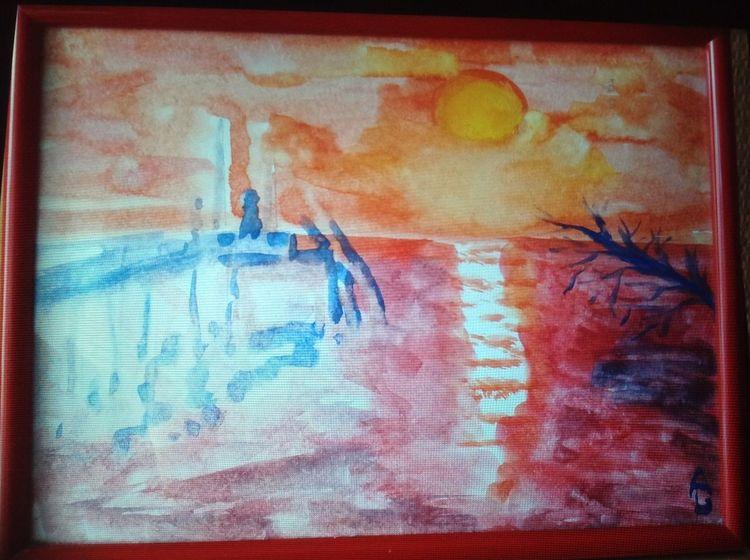Gelb wolken, Licht, Wasser, Blau, Rot, Aquarell