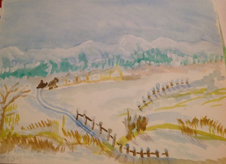 Winter, Landschaft, Malerei, Berge, Aquarell