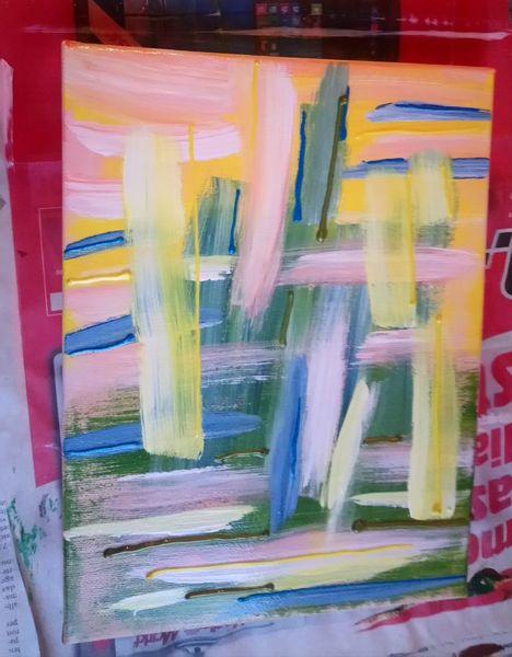 Rosa, Abstrakt, Freude, Grün, Acrylmalerei, Harmonie