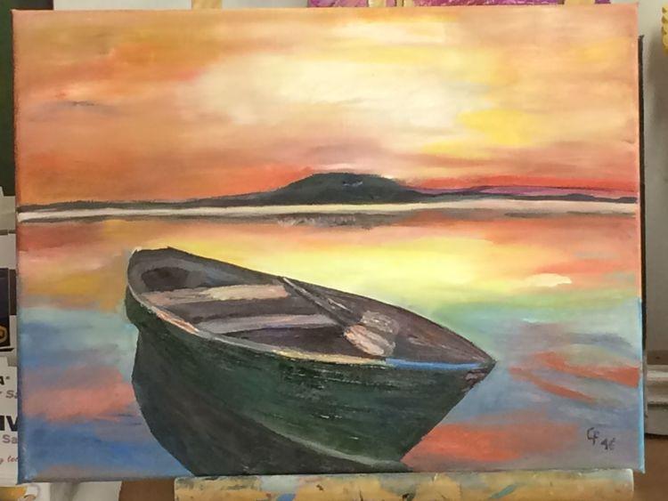 Boot, Süden, Ölmalerei, Meer, Abendhimmel, Malerei