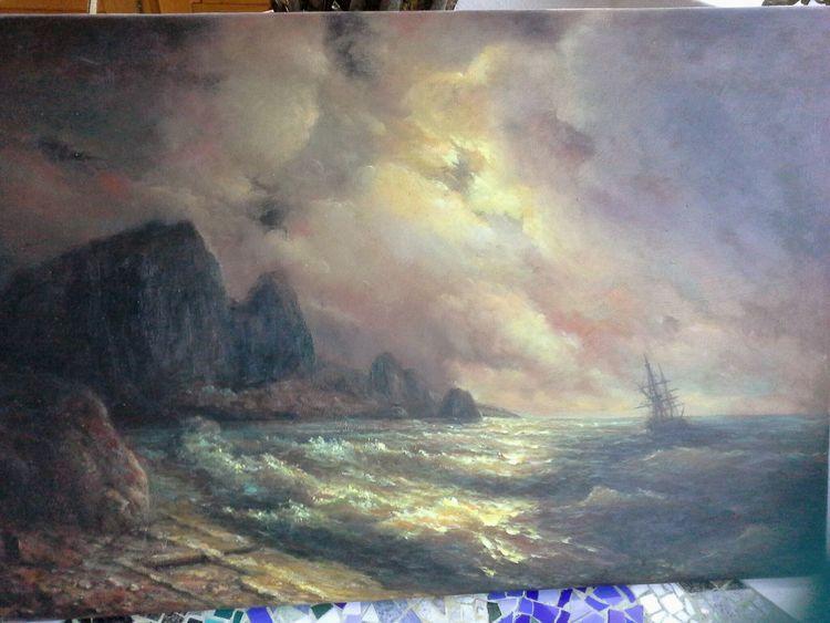 Segelschiff, Welle, Sonnenuntergang, Meer, Malerei, Landschaft