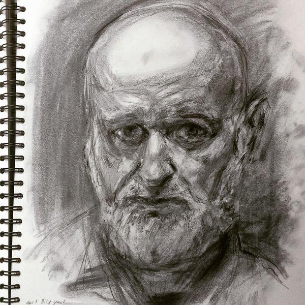 Skizzenbuch, Portrait, Kohlezeichnung, Zeichnung, Zeichnungen, Studie