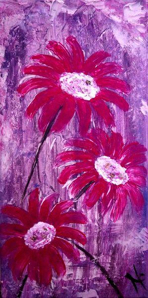 Spachtel, Blumen, Malen, Pink, Strukturpaste, Violet