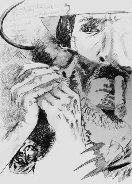 Mann, Mysterie, Rauchen, Zeichnungen,