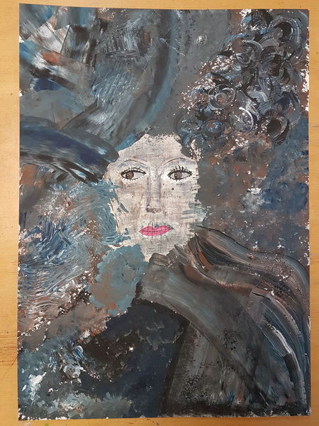 Frau, Acrylmalerei, Ausdruck, Gefühl, Malerei