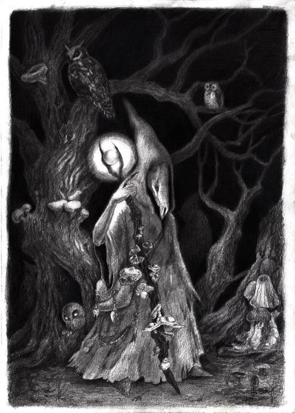 Kreatur, Nacht, Eule, Hain, Bleistiftzeichnung, Geist