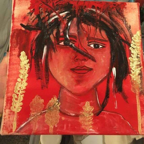 Wild, Rot, Portrait, Malerei,