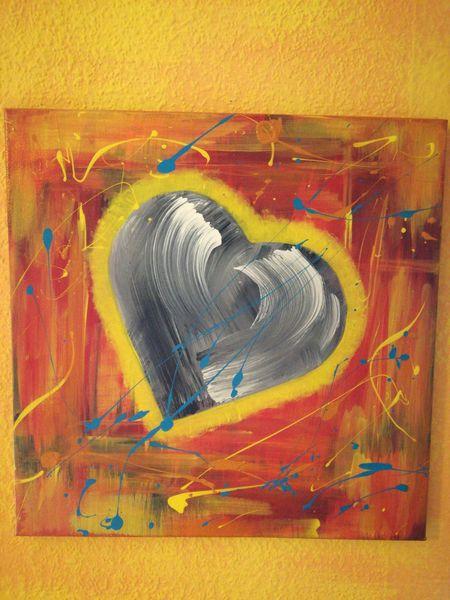 Abstrakt bunt verrückt, Malerei, Rot, Blau, Liebe